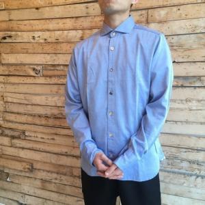 DNL Italy ミックスボタンスリムシャツ ブルー|abracadabra