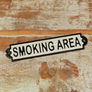 アイアンサインプレート SMOKING AREA|abracadabra