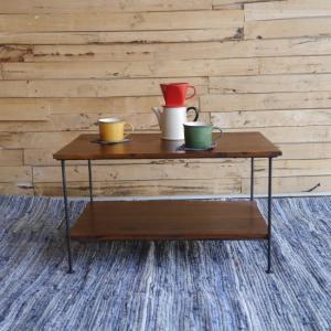 鉄と木のスクエアテーブル|abracadabra