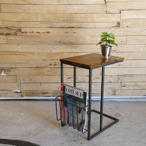 鉄と木のマガジンラック付きソファテーブル|abracadabra