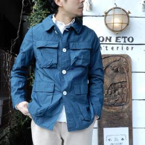 LOLO (ロロ) タイプライターカバーオールジャケット ブルー|abracadabra