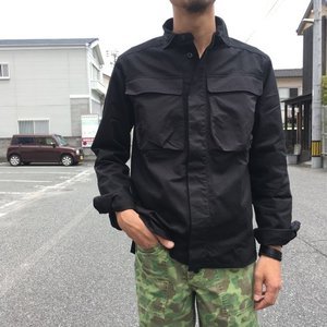 LOLO(ロロ) Wポケット&エルボーパッチ長袖シャツ ブラック|abracadabra