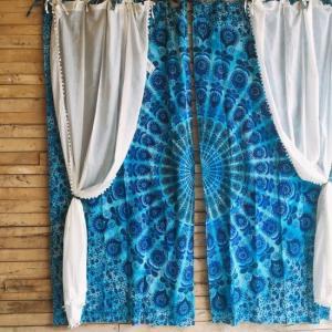 マンダラカーテン 100×200cm ブルー|abracadabra