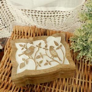 マンゴーウッドミニボックス 草木と鳥|abracadabra