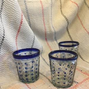 メキシコリサイクルガラス 水玉タンブラー ブルー|abracadabra