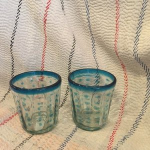 メキシコリサイクルガラス 水玉タンブラー ライトブルー|abracadabra