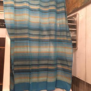 ストライプ柄イタワ織りマルチクロス 150×225cm ブルー|abracadabra