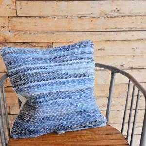 デニム裂き織りクッションカバー 45x45cm|abracadabra