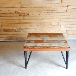 TOPANGA リサイクルチークウッドローテーブル W75xD75xH40cm 【送料無料】|abracadabra