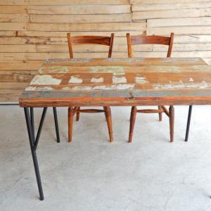 TOPANGA リサイクルチークウッドダイニングテーブル W120xD75xH75cm|abracadabra