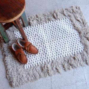 TOPANGA INTERIOR 手織りのコットンスモールマット セフル 60×90cm|abracadabra