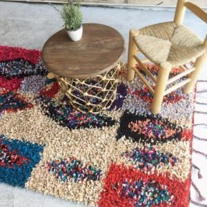 TOPANGA 手織りのカラフルフロアマット フリーブガ 130×180cm abracadabra