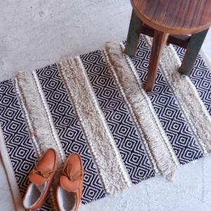 TOPANGA INTERIOR 手織りのコットンスモールマット ベレチド 60×90cm|abracadabra