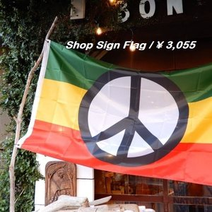 TOPANGA INTERIOR Shop Sign Flag/Peace Symbol Flag|abracadabra