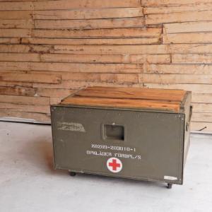リメイク天板付き スウェーデン軍 メディカルウッドボックス Lサイズ