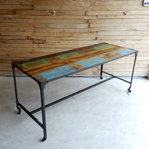 TOPANGA リサイクルウッド&アイアン ダイニングテーブル 175x70cm【送料無料】|abracadabra