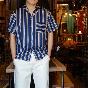TOPANGA Fashion ストライプ開襟シャツ ネイビー|abracadabra