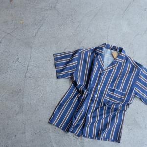 TOPANGA Fashion ストライプ開襟シャツ ブルー|abracadabra