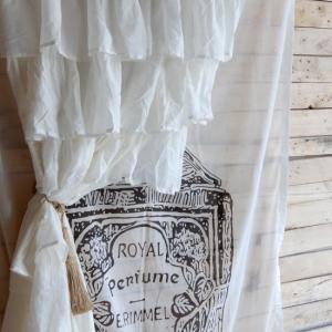TOPANGA INTERIOR COTTON VOILE RUFFLED CURTAIN コットンボイルラッフルカーテン W105xH240cm|abracadabra
