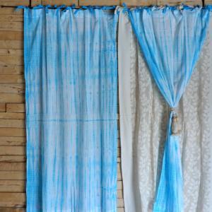 TOPANGA Shibori Curtain シボリカーテン W110xH180cm 白x青|abracadabra