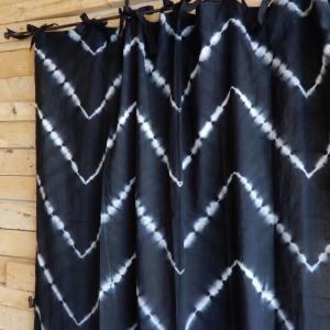 TOPANGA Shibori Curtain シボリカーテン W110xH200cm 黒|abracadabra