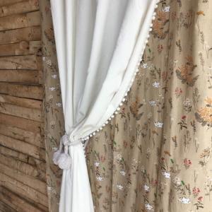 TOPANGA INTERIOR COTTON VELVET POMPOM CURTAIN コットンベルベットポンポンカーテン W105xH180cm|abracadabra