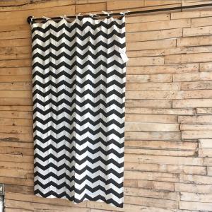 COTTON SHEETING ZIGZAG CURTAIN コットンジグザグカーテン W105xH180cm ブラック|abracadabra