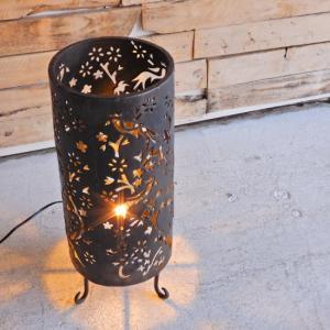 手打ち黒鉄の丸型ランプ 花鳥柄|abracadabra