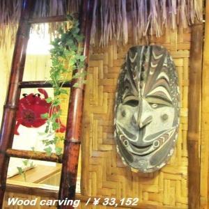 木彫りの置物 スマイルフェイスマスク|abracadabra