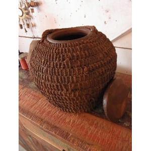 アンティーク・インドのジュート編み陶器(丸タイプ)|abracadabra