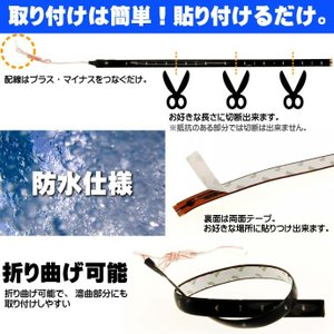LEDテープ12連30cm 正面発光LEDテープ ホワイト/ブルー/アンバー/レッド/グリーン 白/黒ベース選べるLEDテープ1本 防水切断可能なLEDテープ sale as189|absolute|02