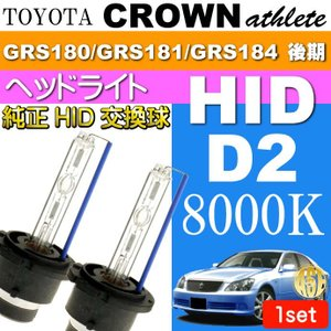クラウン D2C D2S D2R HIDバルブ 35W8000Kバーナー 2本 CROWNアスリート H17.10〜H20.1 GRS180/GRS181/GRS184 後期 交換球 as60468K|absolute