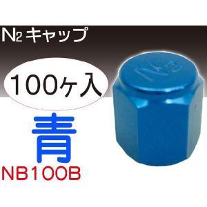 N2キャップブルー100個 窒素ガス用バルブキャップ NB100B|absolute