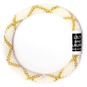 リリーアンドローラ ブレスレット(Lily and Laura Bracelets)【正規品】 Gold Criss Cross on Opalescent Pearl|abterrace