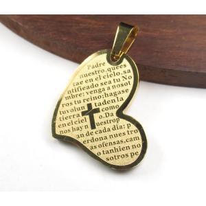 ハート型 26×19mm 304ステンレスペンダント ゴールドカラー「主の祈り」がスペイン語で刻印 7021|ac-jewel