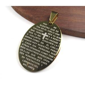 オーバル型 34×24mm 304ステンレスペンダント ゴールドカラー「主の祈り」がスペイン語で刻印 7022|ac-jewel