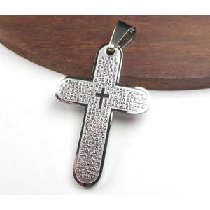 クロス 十字架型 37×25mm 304ステンレスペンダント ゴールドカラー「主の祈り」がスペイン語で刻印 7023|ac-jewel