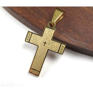 クロス 十字架型 31×23mm 304ステンレスペンダント ゴールドカラー「主の祈り」がスペイン語で刻印 7024|ac-jewel