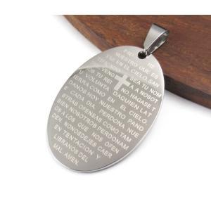 オーバル型 34×24mm 304ステンレスペンダント シルバーカラー「主の祈り」がスペイン語で刻印 7025|ac-jewel