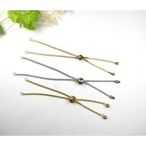 ブレスレット チェーン パーツ 304ステンレス製 ゴールドメッキ サイズ調節可能 スライドパーツ付き 7303|ac-jewel