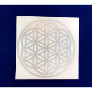 フラワーオブライフメタリックシール直径77mm ホログラムレインボーカラー 日本 神聖幾何学図形 無料サンプルOK グリッドマットやボードにも fol 屋内外両用カッティングシートタイプ