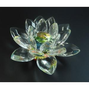<title>レインボークリスタルロータス ガラス 7cm 蓮の花置物 インテリア 浄化祈願として 透明で虹色の輝き 新着セール インテリアに h005</title>