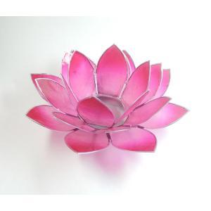 <title>ロータスキャンドルホルダー 期間限定お試し価格 カピス貝 ハートチャクラ対応グラデーションピンクBΦ約15cm ロータスの色の光が星形 瞑想に 蓮の花置物 部屋の飾りに h023</title>