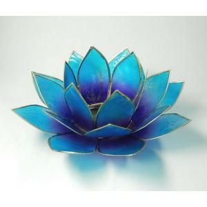 <title>ロータスキャンドルホルダー カピス貝 第五〜第七チャクラ対応青紫ブルーパープルΦ約15cm ロータスの色の光が星形 瞑想に 蓮の花置物 お得なキャンペーンを実施中 瞑想や部屋の飾りに</title>