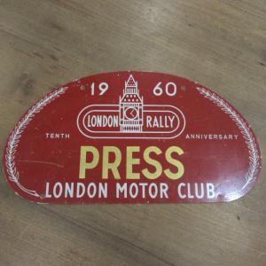 ロンドン モーター クラブ 1960年 ロンドン ラリー 10周年 ラリープレート ac-minds-aj