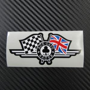 ACE CAFE RACER エースカフェ チェッカー&ユニオンジャックフラッグ ステッカー 外貼り|ac-minds-aj