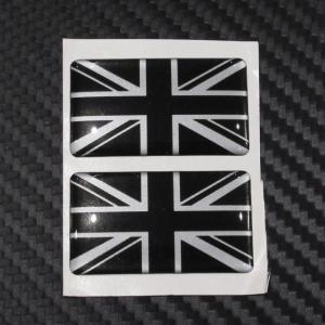 Union Jack ユニオンジャック 3Dステッカー 2枚セット / ブラック&シルバー|ac-minds-aj