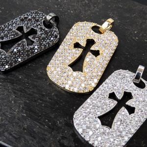 HIP-HOP【ヒップホップ】フェイク パヴェ プレート タグ クロス【3カラー:ゴールド・プラチナ・ブラック】ヘッド ブリンブリン B系|accessoriesgrace