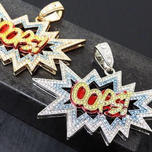 HIP-HOP【2カラー】ヒップホップフェイクゴールドプラチナ/パヴェカラークリスタル【Out OOPS!】ビッグヘッド ブリンブリン B系|accessoriesgrace