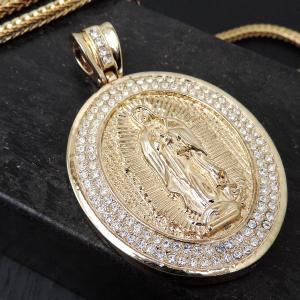 HIP-HOP【2カラー】ヒップホップフェイクゴールドプラチナ/マリアメダイユ【聖母メダル】クリスタルビッグヘッド ブリンブリン B系|accessoriesgrace